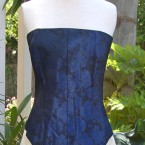 Navy blue bustier embossed with flowers: size 12