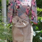 Beige/peach silk dress with scarf/sash: size 10