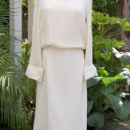 Cream chiffon dress, long sleeves: size 10