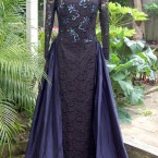 Black lace, saphire silk dress, hand beaded: size 14
