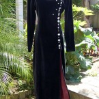 Black velvet long sleeve dress, pearl silver adornments: size 14