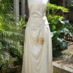 Cream handbeaded, leather grain satin dress: size 10