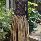 Black lace, bronze silk, one sleeve dress: size 12