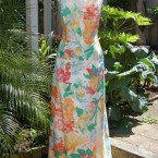 1988 floral cotton, English fabric dress: size 12