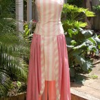1988 pink cotton dress, with newspaper feature: size 10