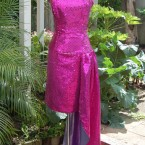 Pink sequinned dress with half long skirt: size 10