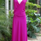 Pink silky 3/4 dress, dropped waist: size 14