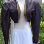 Black tafetta bolero, gold faced jacket: size 10