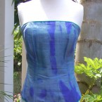 Green/purple shot silk bustier: size 10